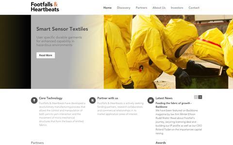 Screenshot of Home Page footfallsandheartbeats.com - The first true intelligent textile, where the fabric is the sensor - Footfalls & Heartbeats - captured Feb. 10, 2016