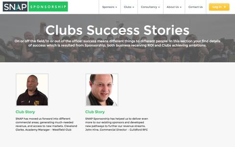 Screenshot of Case Studies Page snapsponsorship.com - Success Stories - Clubs | SNAP Sponsorship - captured July 19, 2016