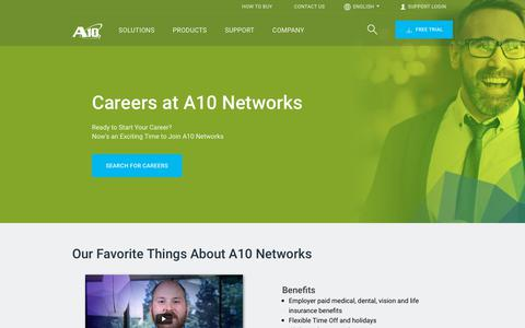 Screenshot of Jobs Page a10networks.com - Network Security, Professional, & Administrative Careers | A10 Networks - captured May 22, 2019