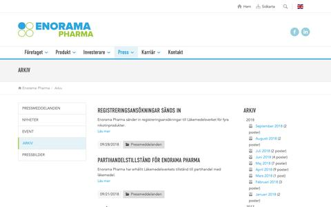 Screenshot of Press Page enorama.se - Arkiv - captured Sept. 28, 2018