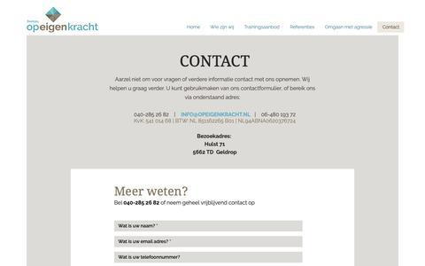 Screenshot of Contact Page opeigenkracht.nl - Contact | Bureau Op Eigen Kracht - captured Dec. 19, 2018