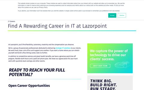 Screenshot of Jobs Page lazorpoint.com - IT Career Opportunities   Cleveland   Lazorpoint - captured July 17, 2018