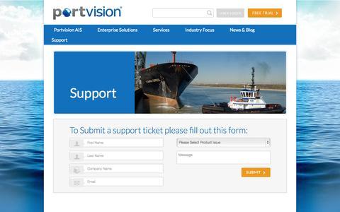 Screenshot of Support Page portvision.com - Support - Portvision - captured Sept. 30, 2014