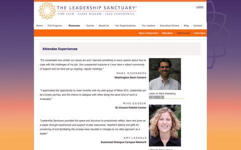 Screenshot of Testimonials Page theleadershipsanctuary.org - The Leadership Sanctuary - Testimonials - captured Oct. 8, 2014