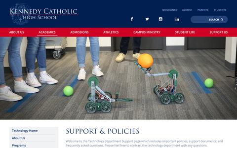 Screenshot of Support Page kennedyhs.org - Support & Policies - Kennedy Catholic High School - captured Oct. 15, 2018