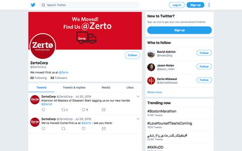 Tweets by ZertoCorp (@ZertoCorp) – Twitter