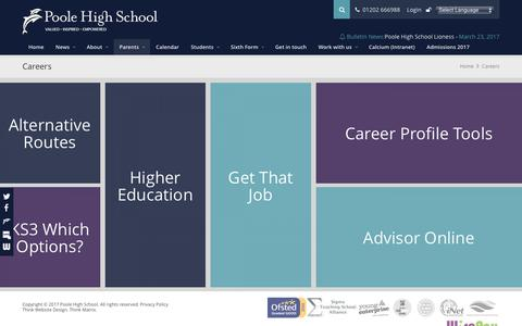 Screenshot of Jobs Page poolehigh.co.uk - Poole High School | Careers - captured March 25, 2017