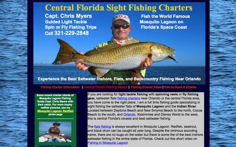 Screenshot of Home Page floridafishinglessons.com - Orlando Fishing Guide - Mosquito Lagoon Fishing Guide - Cocoa Beach - Daytona - captured Oct. 2, 2014