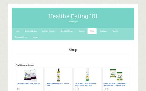 Screenshot of Products Page healthyeating101.com - Shop - captured May 17, 2017