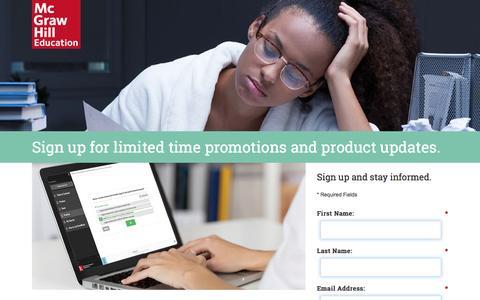 Screenshot of Landing Page mheducation.com - LearnSmart Promo Code Reminder - captured May 25, 2016