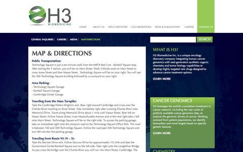Screenshot of Maps & Directions Page h3biomedicine.com - Map I H3 BIOMEDICINE - captured Sept. 26, 2014