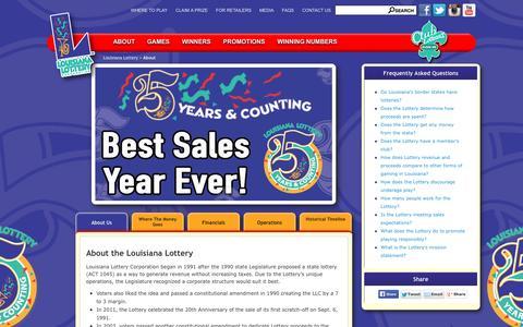 Screenshot of About Page louisianalottery.com - About the Lottery - Louisiana Lottery - captured Sept. 10, 2016