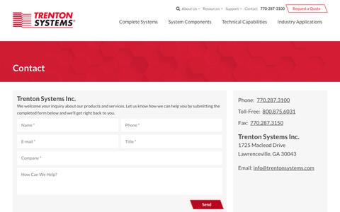 Screenshot of Contact Page trentonsystems.com - Contact Us   Trenton Systems Inc. - captured July 8, 2017