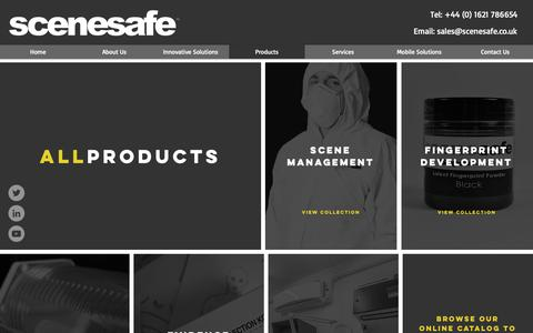Screenshot of Products Page scenesafe.co.uk - SceneSafe| Products - captured Nov. 9, 2018
