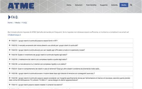 Screenshot of FAQ Page atmespa.it - F.A.Q. - ATME Spa - captured July 28, 2018