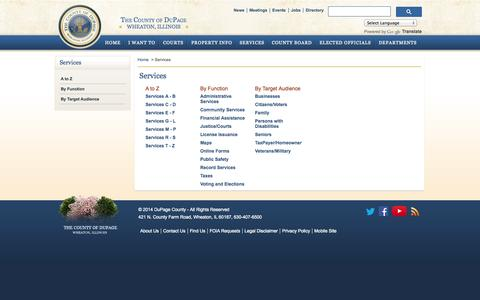 Screenshot of Services Page dupageco.org - DuPage County IL Official Website - Services - captured Oct. 31, 2014