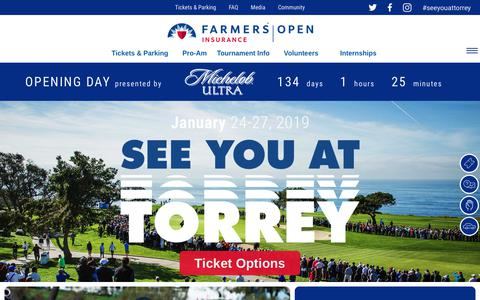 Screenshot of Home Page farmersinsuranceopen.com - The Farmers Insurance Open  Farmers Insurance Open | PGA TOUR Golf Tournament - captured Sept. 12, 2018