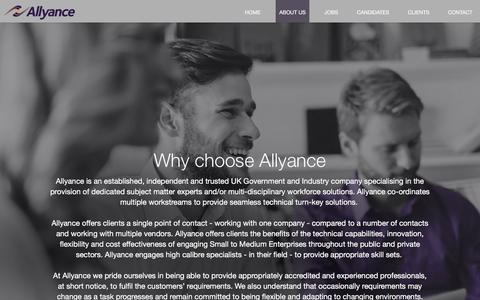 Screenshot of About Page allyance.co.uk - About Us - Allyance Recruitment - captured Nov. 20, 2016