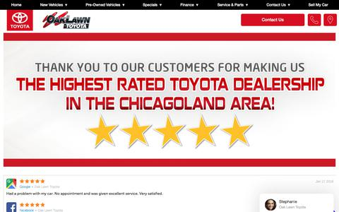 Screenshot of Testimonials Page oaklawntoyota.com - Customer Reviews, Testimonials - Oak Lawn Toyota - captured Jan. 19, 2018