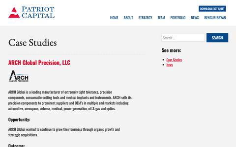Screenshot of Case Studies Page patriot-capital.com - Case Studies – Patriot Capital - captured Nov. 4, 2018