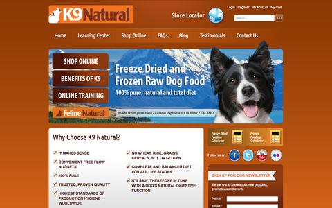 Screenshot of Home Page k9natural.com - K9 Natural | Best Raw Dog Food for Healthy Dogs-K9 Natural - captured Oct. 5, 2014