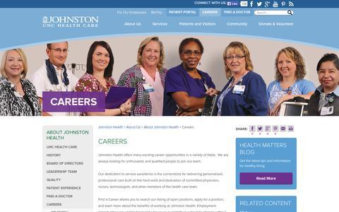 Screenshot of Jobs Page johnstonhealth.org - Careers - Johnston Health - captured Sept. 30, 2014