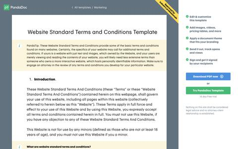 Screenshot of Terms Page pandadoc.com - Website Standard Terms and Conditions Template - Get Free Sample - captured April 29, 2019