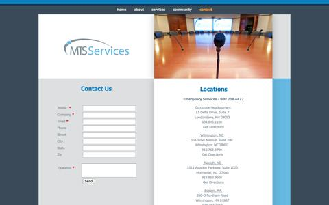 Screenshot of Contact Page mtsservices.com - MTS Services - Contact - captured Sept. 30, 2014