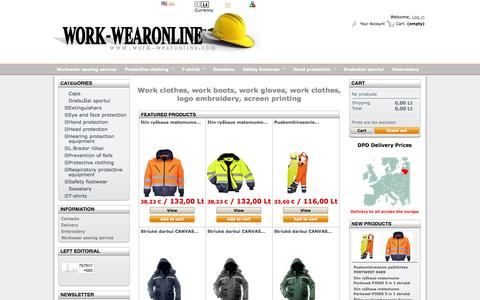 Screenshot of Home Page work-wearonline.com - Workwear, Work Clothes, Work Boots, and Uniforms - WORK-WEARONLINE - captured Oct. 3, 2014