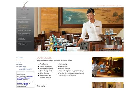 Screenshot of Services Page ncth.com - Our Services / Catering & Support Services Division / NCT&H Portfolio of Businesses / Main page - NATIONAL CORPORATION FOR TOURISM & HOTELS - captured Oct. 27, 2014