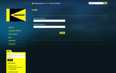 Screenshot of Login Page aquasign.com - Login - Aquasign - Marine Antifouling Subsea Markers - captured Oct. 4, 2014