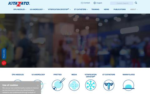 Screenshot of Home Page kitazato-dibimed.com - Kitazato Corporation - Vitrification, OPU Needles and ET Catheters - captured Sept. 20, 2018