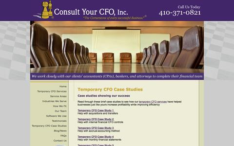 Screenshot of Case Studies Page consultyourcfo.com - Case Studies - Start-up Company, Overhead, CFO Services - captured Oct. 2, 2014