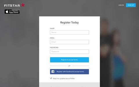 Screenshot of Signup Page fitstar.com - FitStar – Inspiring people to live healthier lives - captured Dec. 17, 2014