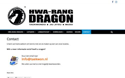 Screenshot of Contact Page taekwon.nl - Contact | HWA-RANG DRAGON TAEKWONDO EN JIU JITSU - captured Sept. 30, 2018