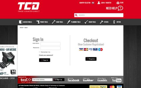 Screenshot of Login Page tradecounterdirect.com - Login - captured Sept. 24, 2016