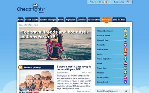 Screenshot of Press Page cheapflights.com - Cheapflights | All the news you can use and tips for smarter travelers - captured Dec. 8, 2015