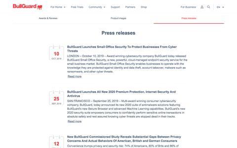 Screenshot of Press Page bullguard.com - BullGuard Press Releases, Latest News - BullGuard - captured Dec. 9, 2019