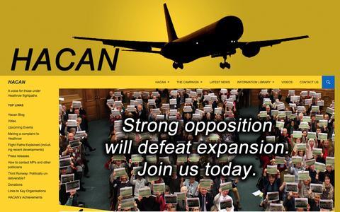 Screenshot of Signup Page hacan.org.uk - Join us | HACAN - captured Dec. 5, 2015