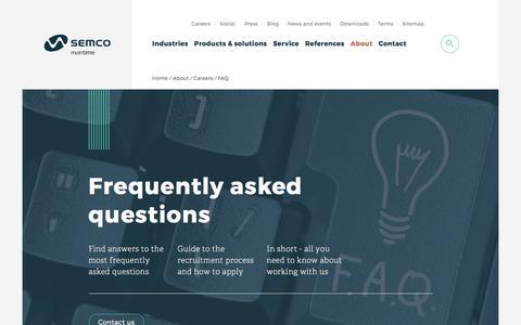 Screenshot of FAQ Page semcomaritime.com - FAQ about your future career at Semco Maritime - captured Sept. 7, 2017