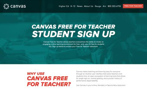 Screenshot of Trial Page canvaslms.com - Student Sign Up | Free for Teacher- LMS Software | Canvas - captured Feb. 5, 2019