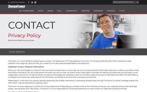 Screenshot of Privacy Page thorntonsinc.com - Thorntons - captured Nov. 17, 2017