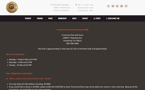 Screenshot of centennialgunclub.com - FAQ's - Centennial Gun ClubCentennial Gun Club - captured July 19, 2015