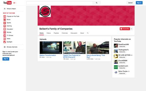Screenshot of YouTube Page youtube.com - Seibert's Family of Companies  - YouTube - captured Oct. 27, 2014