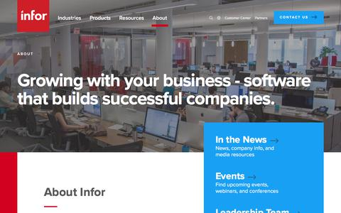 Screenshot of About Page infor.com - About Infor | Global ERP Solutions Company | Infor - captured Sept. 21, 2018