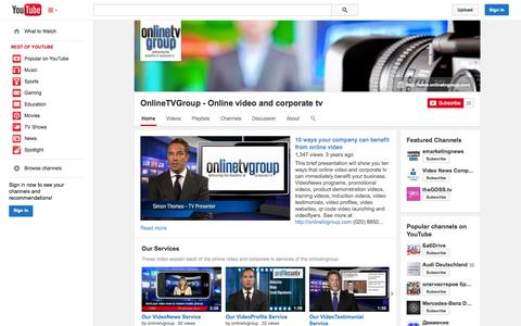 Screenshot of YouTube Page youtube.com - OnlineTVGroup - Online video and corporate tv  - YouTube - captured Oct. 26, 2014