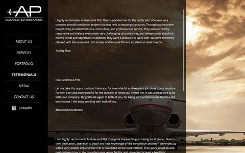 Screenshot of Testimonials Page apcompletionservices.com - Yachts, Private Jets and Helicopters Interiors | AP Completion - captured Dec. 23, 2015