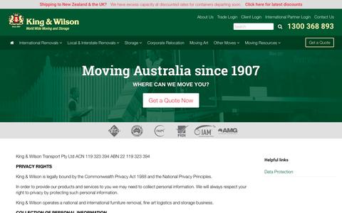 Screenshot of Privacy Page kingandwilson.com.au - Privacy policy | King & Wilson - captured Nov. 27, 2016