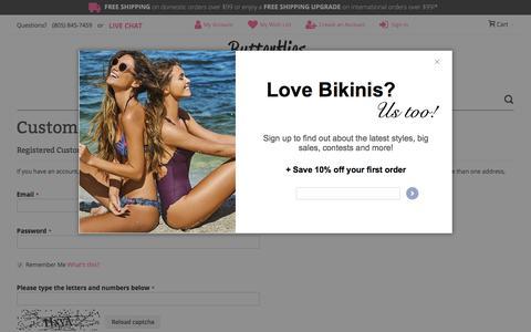 Screenshot of Login Page butterfliesandbikinis.com - Customer Login - captured Aug. 21, 2019