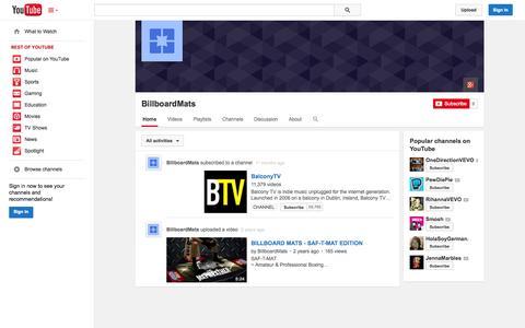 Screenshot of YouTube Page youtube.com - BillboardMats  - YouTube - captured Oct. 23, 2014